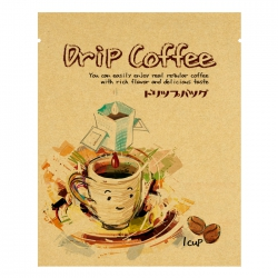Drip Coffee Bag-Pink Smile Cup Pattern-Kraft(FE-39107)