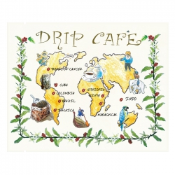 Drip Coffee Bag-World Map Pattern-White Kraft(FE-31108W)