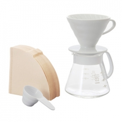 Hario V60 Ceramic Dripper & Pot -White For 1-4 Cups