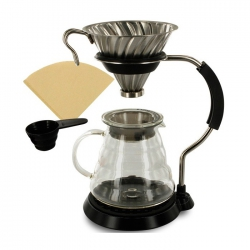 Hario V60 Arm Stand Glass Dripper & Pot For 1-4 Cups
